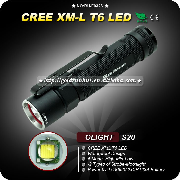 CREE T6 LED Outdoor Flashlight Waterproof:IPX8 Rechargeale Battery