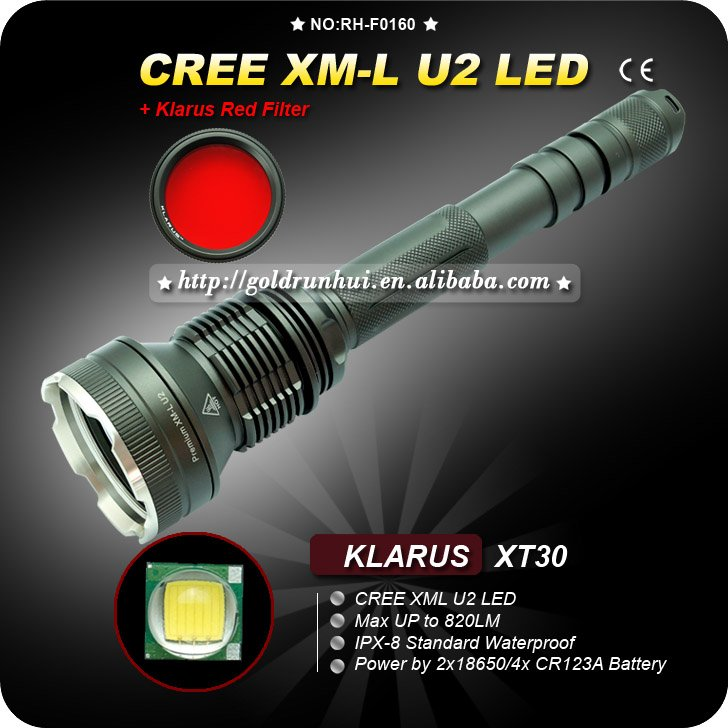 U2 LED Klarus XT30 Torch Waterproof Light