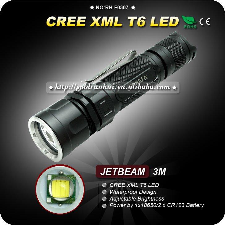 1PC JETBeam 3M CREE XM-L T6 LED Flashlight 450 lumens IPX-8 18650 Camping Hiking