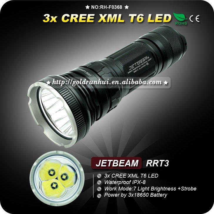 1PC JETBEAM RRT3 T6 LED Rapid Response Control Military Tactical Aluminum HA III IPX-8 LED