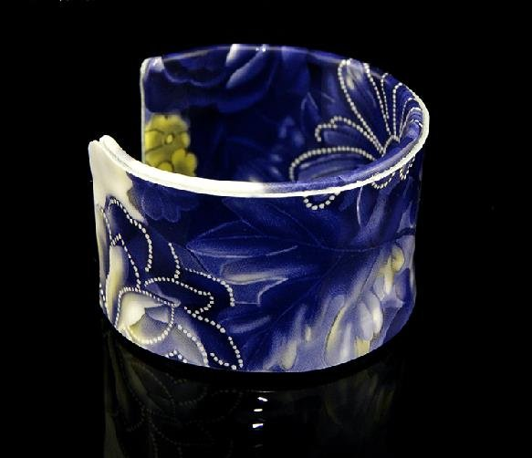 Fashion gift hand-painted blue and white leather bracelet adjustment free shipping -zp001