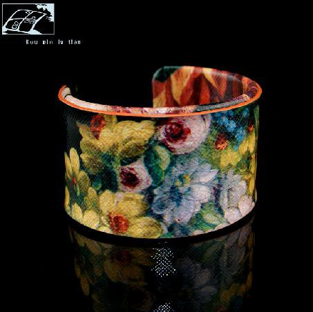 Hand-painted oil painting flower pattern fashion leather bracelet adjustable free shipping -zp004.