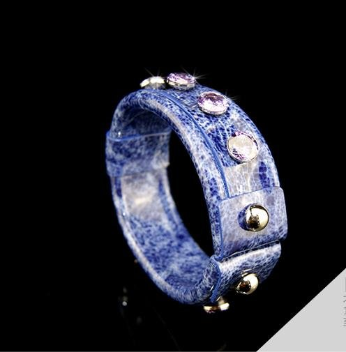 Hand-painted blue leather bracelet inlaid zircon rivets adjustable free shipping -zp012