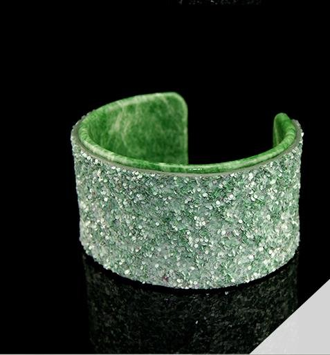 Delicate painted green sequined leather bracelet elastic adjustable free shipping -zp030