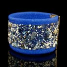 Painted blue sheepskin fashion bracelet inlaid natural stones free shipping -zp038