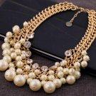 Fashion imitation pearl beautifully ornate double short necklace wedding necklace -sp011
