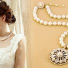 Holiday gifts fine imitation pearl pendant necklace short paragraph sweater chain -sp019