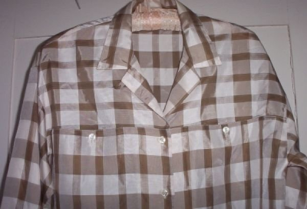 Vintage Lady Manhattan Plaid Brown Tafetta Blouse Shirt Top M