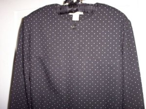 Career Office Liz Claiborne Blouse Top Shirt 6 Black Polka Dots Long Sleeve