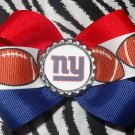 Sporty Bottlecap Bowtie NFL Football New York Giants Logo Hair Bow ~ Free Shipping