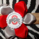 Sporty Bottlecap Flower NCAA Ohio State Buckeyes Logo Hair Bow ~ Free Shipping