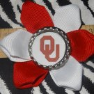 Sporty Bottlecap Flower NCAA Oklahoma Sooners Logo Hair Bow ~ Free Shipping