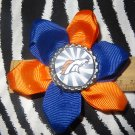 Sporty Bottlecap Flower NFL Football Denver Broncos Logo Hair Bow ~ Free Shipping