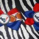 Sporty Bottlecap Set NFL Football Houston Texans Logo Hair Bow ~ Free Shipping