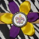 Sporty Bottlecap Flower NCAA LSU Tigers Le Fleur Hair Bow ~ Free Shipping