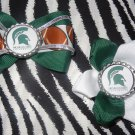 Sporty Bottlecap Set NCAA Michigan State Spartan Logo Hair Bow ~ Free Shipping