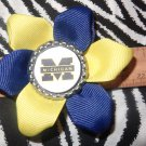 Sporty Bottlecap Flower NCAA Michigan Wolverines Logo Hair Bow ~ Free Shipping