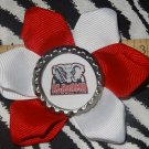 "Sporty Bottlecap Flower NCAA Alabama Crimson ""Big Al"" Elephant Tide Hair Bow ~ Free Shipping"