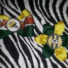 Sporty Bottlecap Set NFL Football Green Bay Packers Helmet Logo Hair Bow ~ Free Shipping