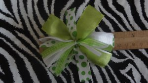 Cheer-riffic Pom Pom Lime Green Dots 4 inch Hair Bow~Free Shipping