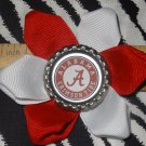 Sporty Bottlecap Flower NCAA Alabama Crimson Tide Hair Bow ~ Free Shipping