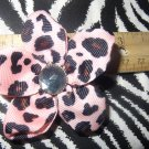 Fabric Flowers Pink Cheetah Animal Print 3 inch Hair Bow~Free Shipping