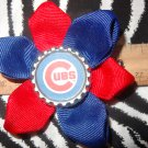 Sporty Bottlecap Flower MLB Baseball Chicago Cubs Logo Hair Bow ~ Free Shipping