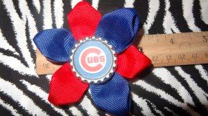 Sporty Bottlecap Flower MLB Baseball Chicago Cubs Logo Hair Bow ~ Free Shipping
