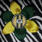 Sporty Bottlecap Flower NFL Football Green Bay Packers Stripes Hair Bow ~ Free Shipping