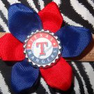 Sporty Bottlecap Flower MLB Baseball Texas Rangers Hair Bow ~ Free Shipping