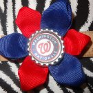 Sporty Bottlecap Flower MLB Baseball Washington Nationals Hair Bow ~ Free Shipping
