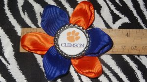 Sporty Bottlecap Flower NCAA Clemson Tigers Hair Bow ~ Free Shipping
