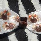 Simply Cute Thanksgiving Turkey Birds 3 x 1 inch Hair Bow Clip ~ Free Shipping