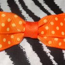 Simply Cute Orange Polka Dots 3 x 1 inch Hair Bow Clip ~ Free Shipping