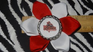 Sporty Bottlecap Flower NCAA Rutgers University Scarlet Knights Logo Hair Bow ~ Free Shipping