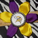 Sporty Bottlecap Flower NFL Football Minnesota Vikings Logo Hair Bow ~ Free Shipping