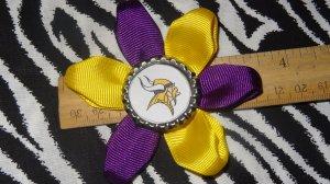 Sporty Bottlecap Flower NFL Football Minnesota Vikings Logo Hair Bow ~ Free Shipping