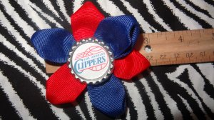 Sporty Bottlecap Flower NBA Basketball Los Angeles LA Clippers Logo Hair Bow ~ Free Shipping
