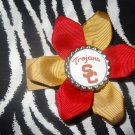 Sporty Bottlecap Flower NCAA USC Trojans Logo Hair Bow ~ Free Shipping