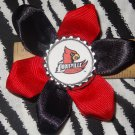 Sporty Bottlecap Flower NCAA Louisville Cardinals Logo Hair Bow ~ Free Shipping