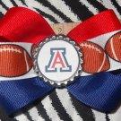 Sporty Bottlecap Bowtie NCAA Arizona Wildcats Logo Hair Bow ~ Free Shipping