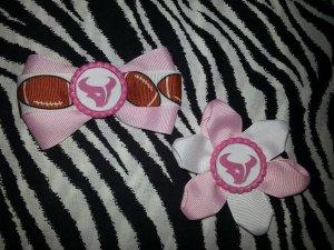 Sporty Bottlecap Set NFL Football Houston Texans Pink Logo Hair Bow ~ Free Shipping