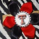 Sporty Bottlecap Flower NCAA Texas Tech Red Raiders Logo Hair Bow ~ Free Shipping