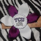 Sporty Bottlecap Flower NCAA TCU Horned Frogs Logo Hair Bow ~ Free Shipping