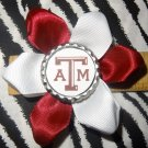 Sporty Bottlecap Flower NCAA Texas A&M Aggies Logo Hair Bow ~ Free Shipping