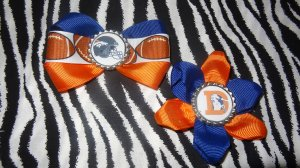 Sporty Bottlecap Set NFL Football Denver Broncos Logo Hair Bow ~ Free Shipping
