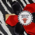 Sporty Bottlecap Flower NBA Basketball Chicago Bulls Logo Hair Bow ~ Free Shipping
