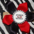 Sporty Bottlecap Flower NCAA Georgia Bulldogs Logo Hair Bow ~ Free Shipping