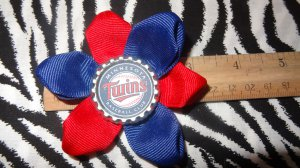 Sporty Bottlecap Flower MLB Baseball Minnesota Twins Hair Bow ~ Free Shipping