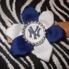 Sporty Bottlecap Flower MLB Baseball New York Yankees Pinstripes Hair Bow ~ Free Shipping